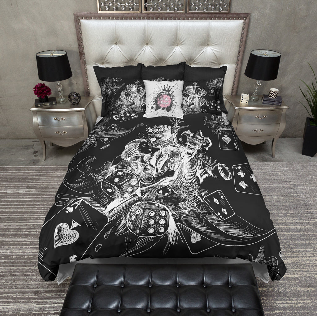King of Spades Poker Joker Black Bedding Collection