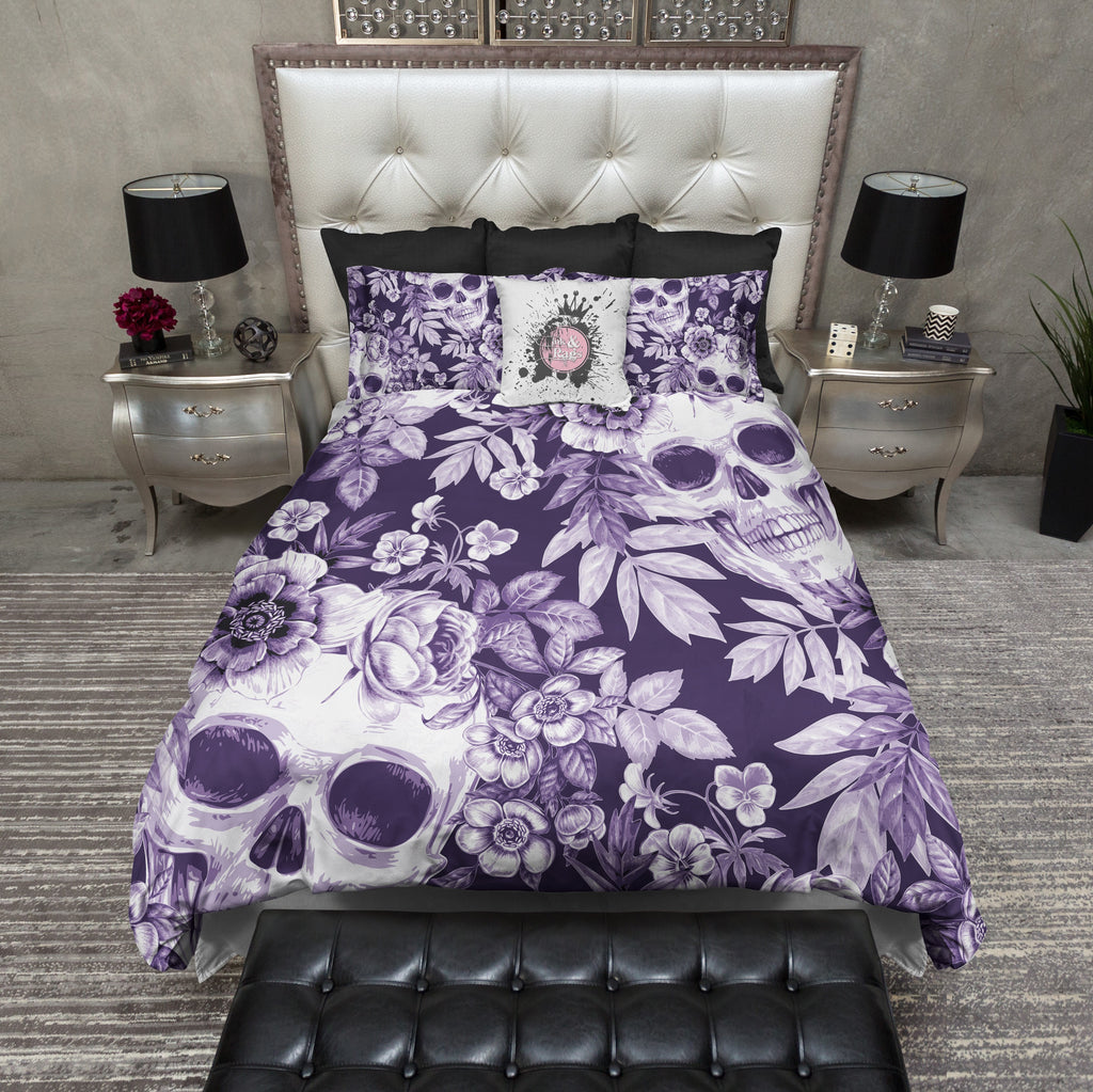 Purple Print and Floral Skull Bedding