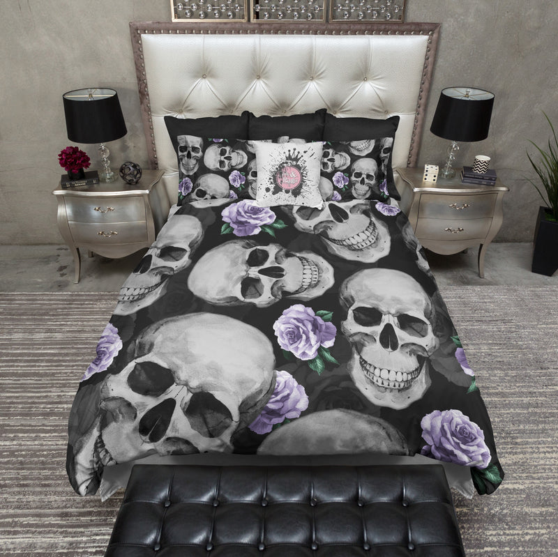 Vintage Purple Rose Skull Bedding
