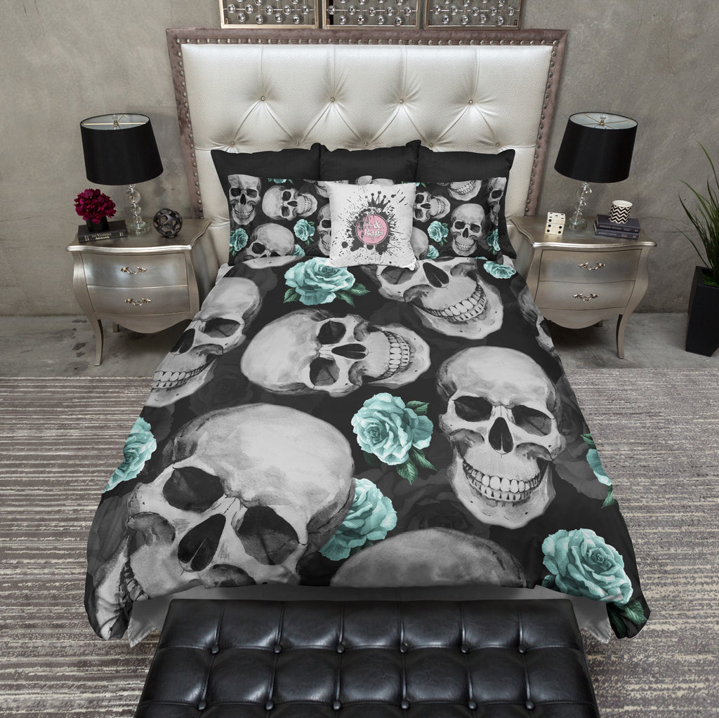 Vintage Robin Egg Blue Skull Bedding