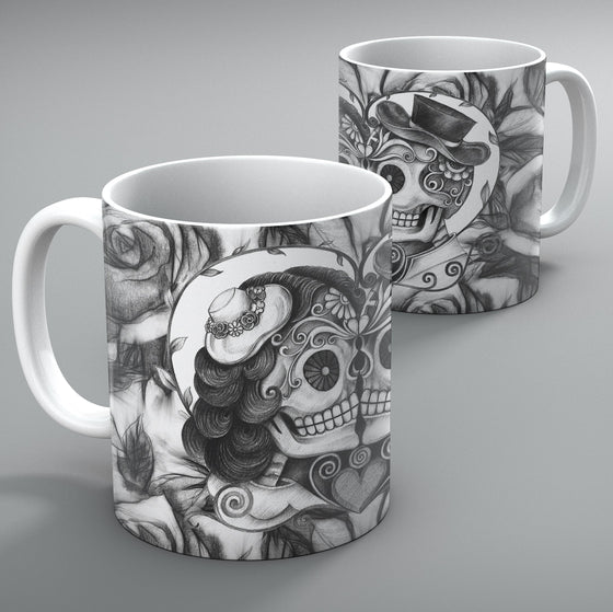 Kissing Couple Sugar Skull Mug Set of 2