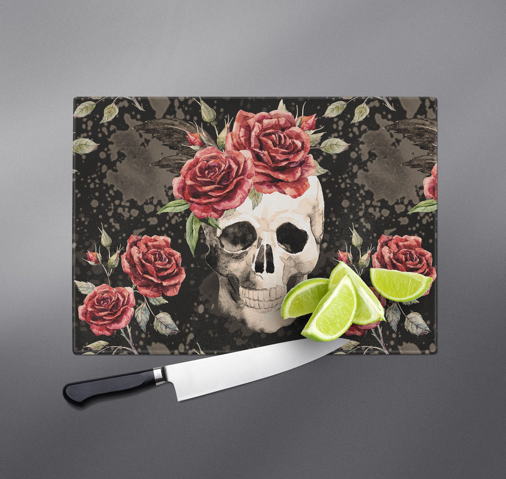 Antiqued Rose and Skull Cutting Boards
