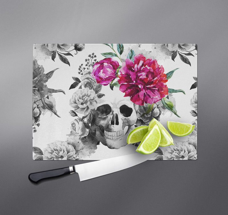 Pink Watercolor Flower and Skull Cutting Boards