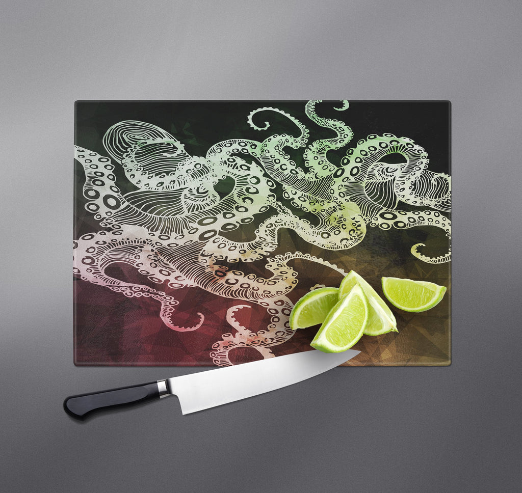 Fall Color Watercolor Octopus Cutting Boards