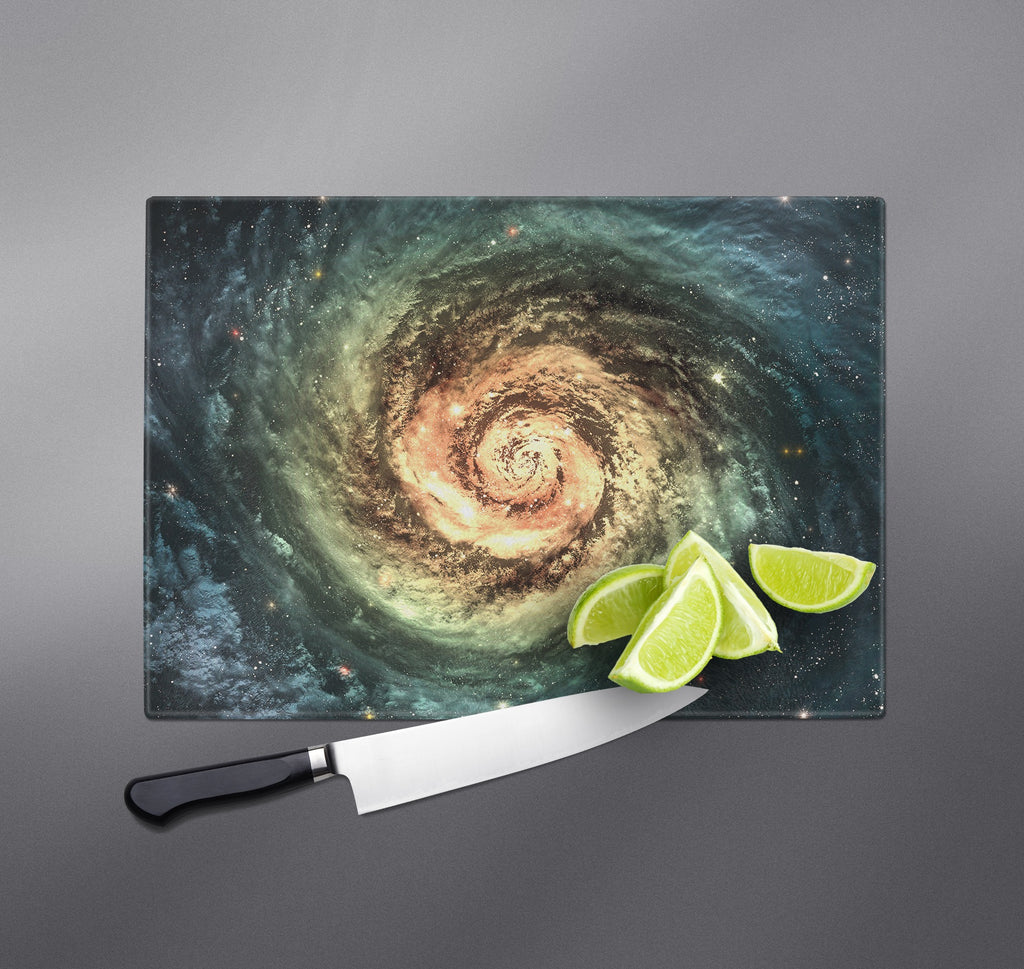 Green and Golden Eye Galaxy Cutting Boards