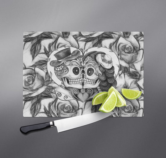 Kissing Couple Pencil Sketch Rose Sugar Skull Cutting Boards