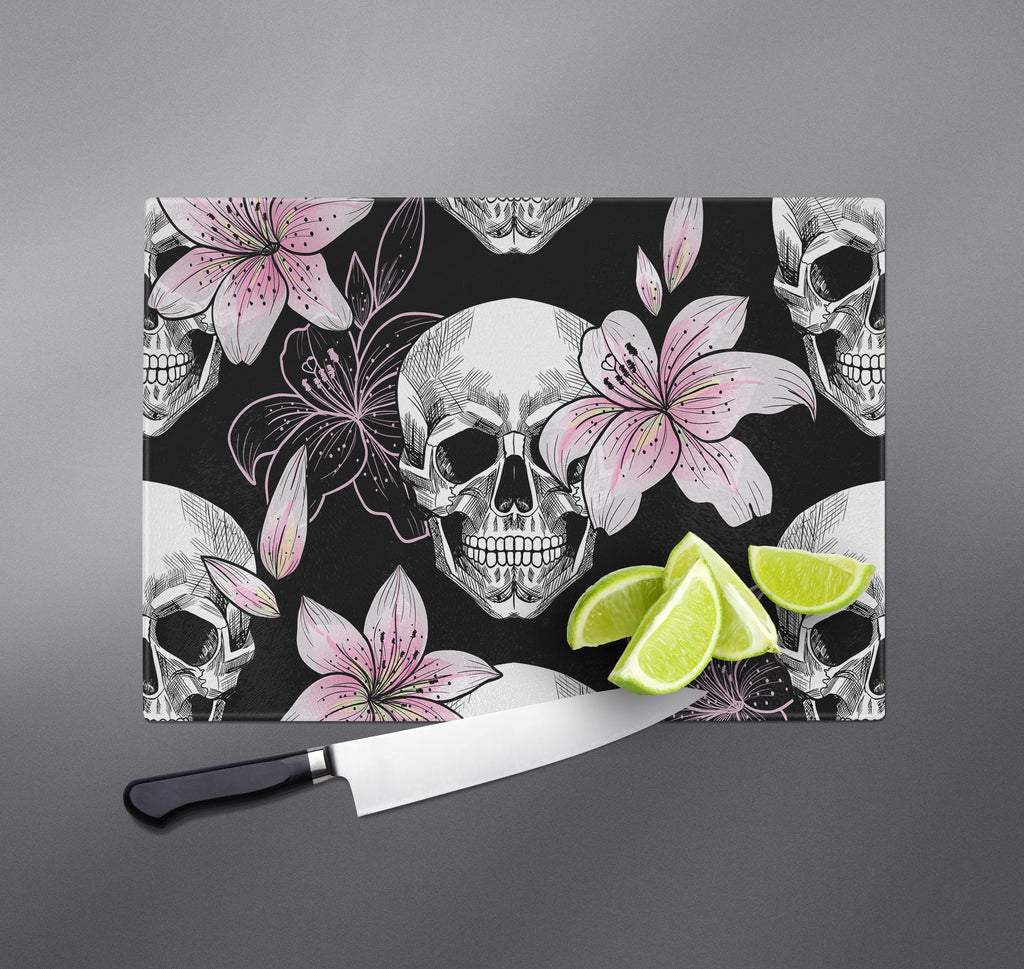 Pink Lily and Skull Cutting Boards