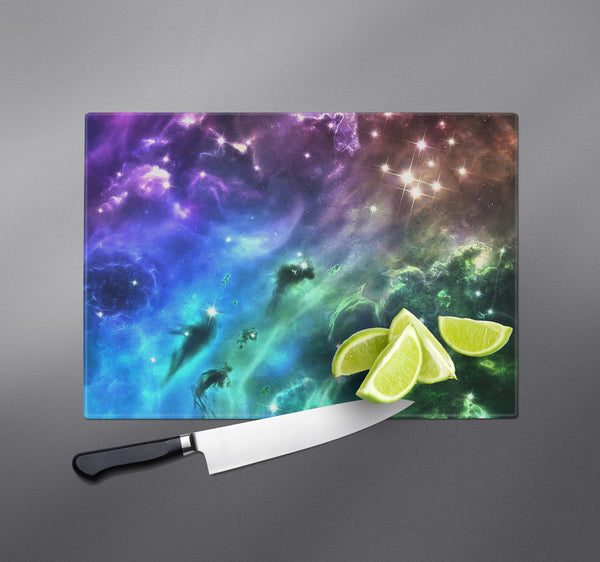 Purple Green and Gold Galaxy Cutting Boards