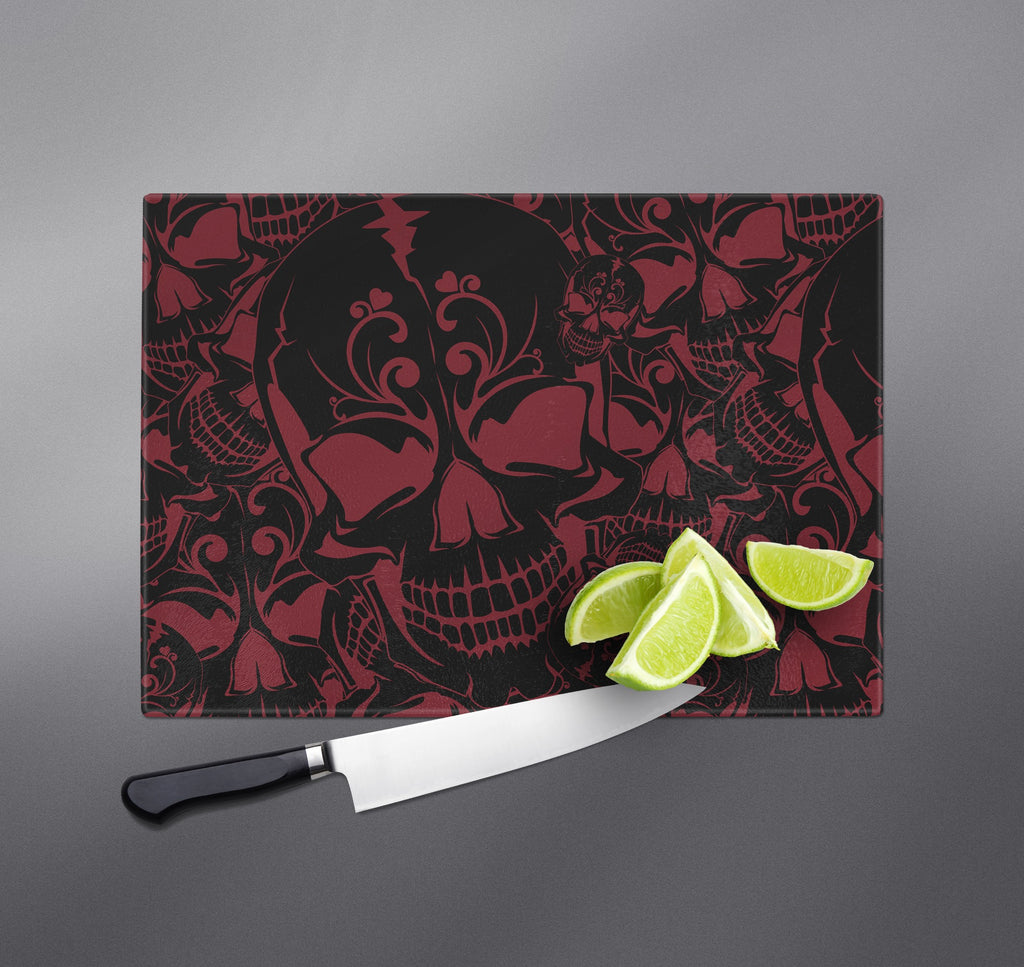 Red and Black Collage Skull Cutting Boards