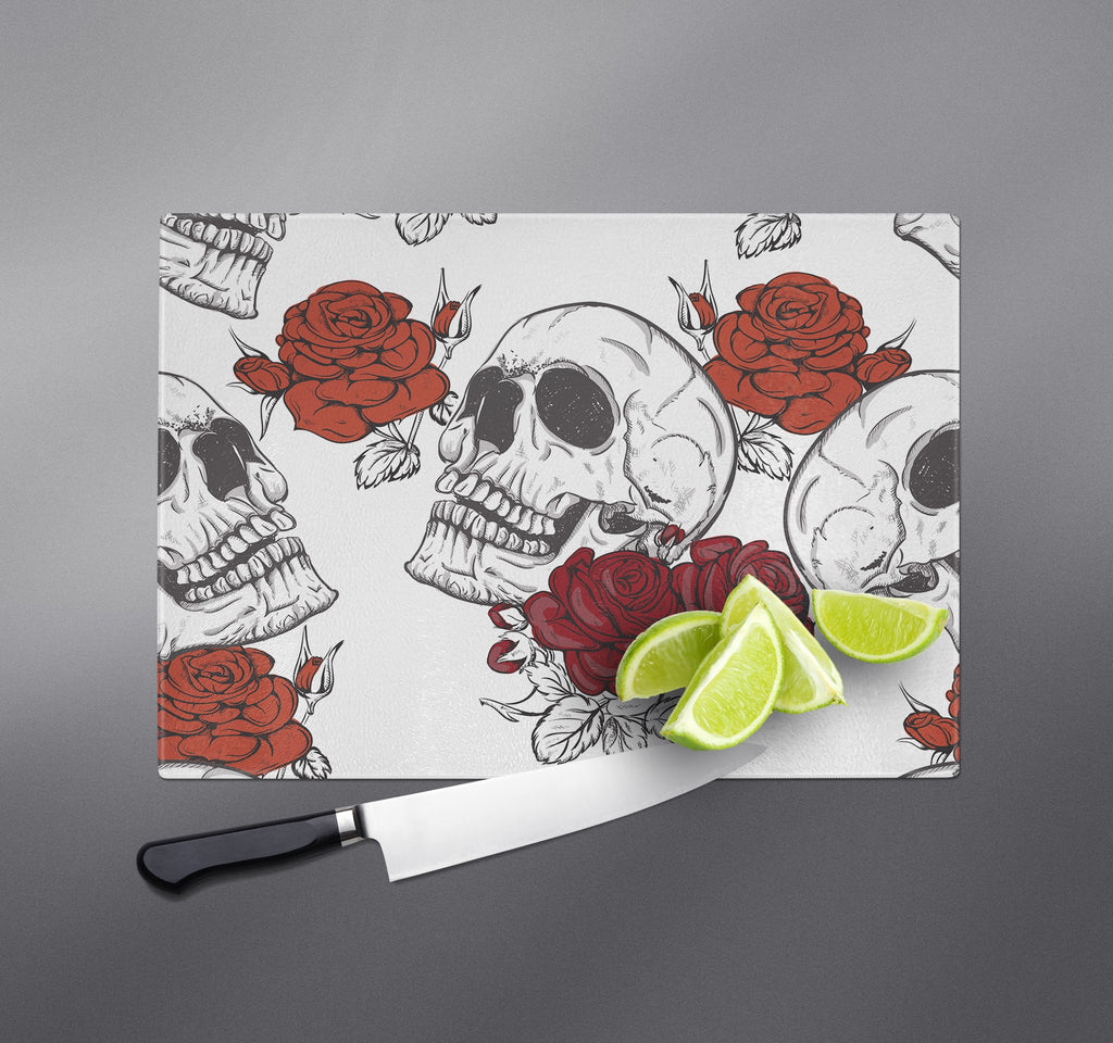 Shades of Red Rose and Skull Cutting Boards
