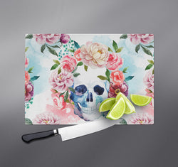 Springtime Watercolor Skull Cutting Boards