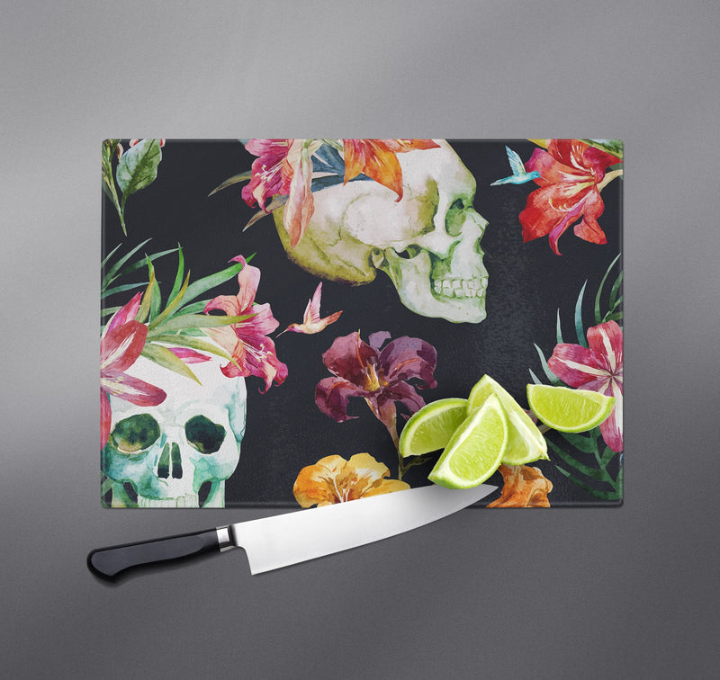 Tropical Lily Skull Cutting Boards