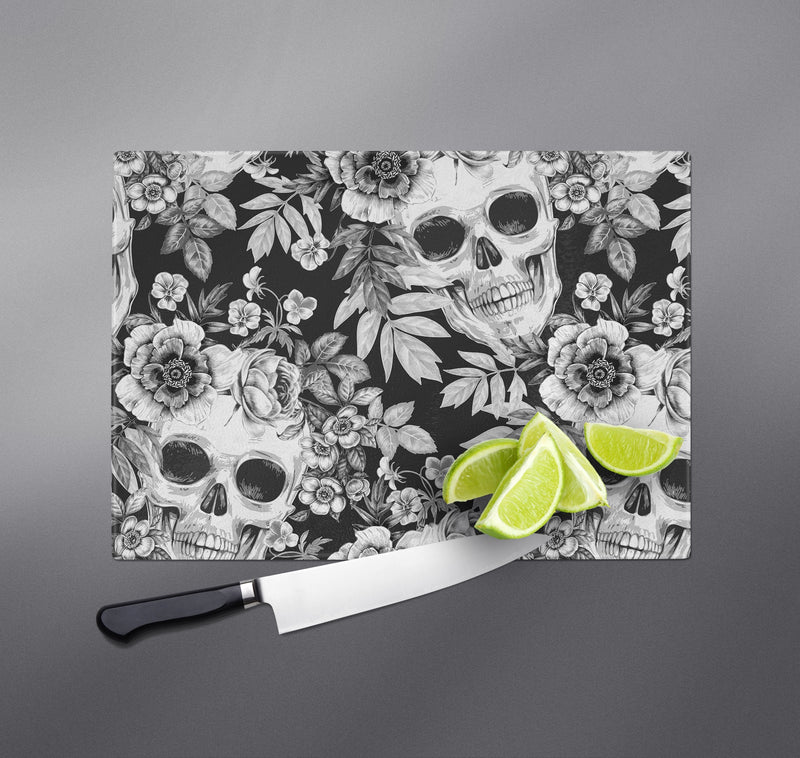 White on Blackprint Skull Cutting Boards