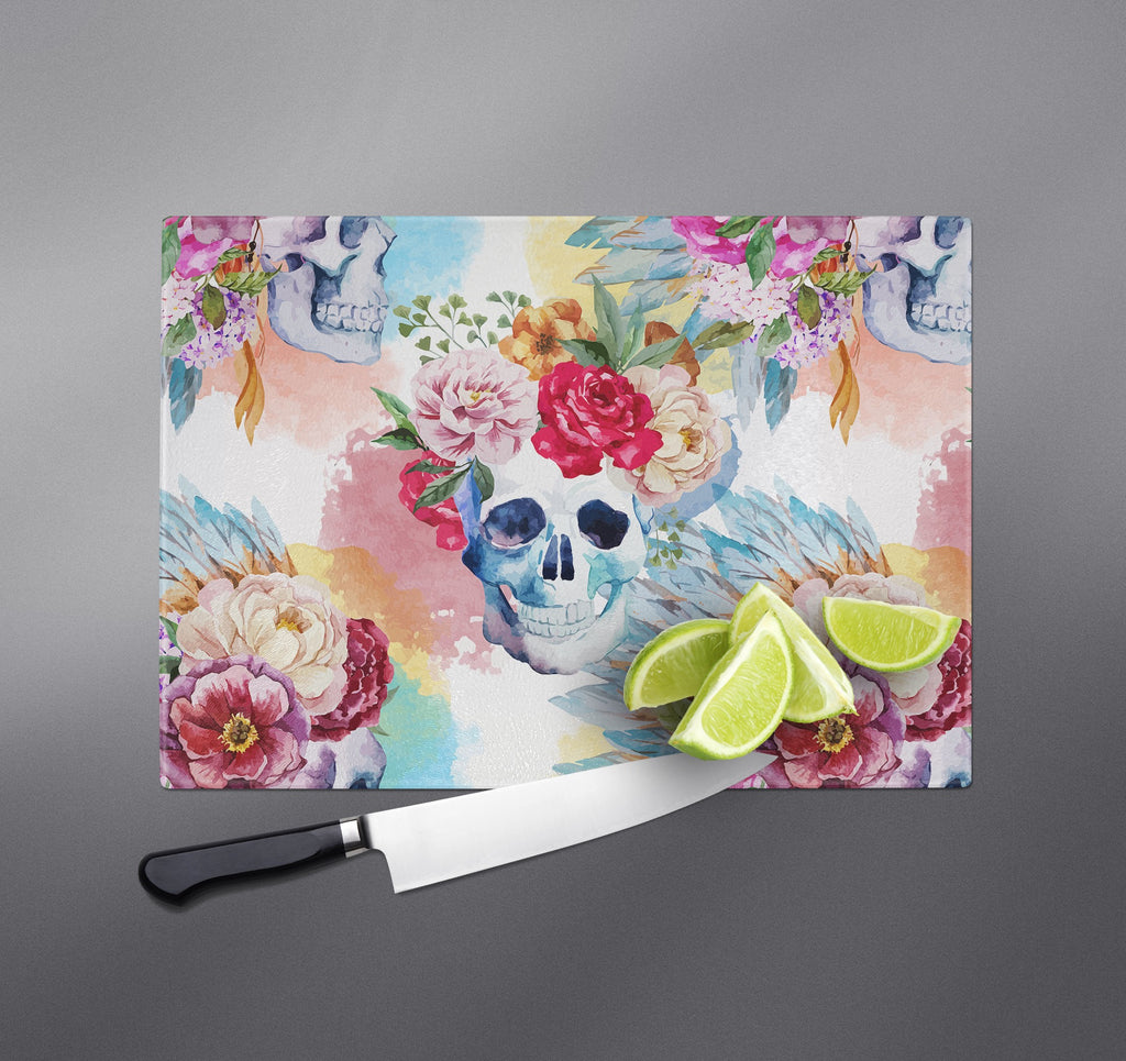 Bright Watercolor Flower and Skull Cutting Boards