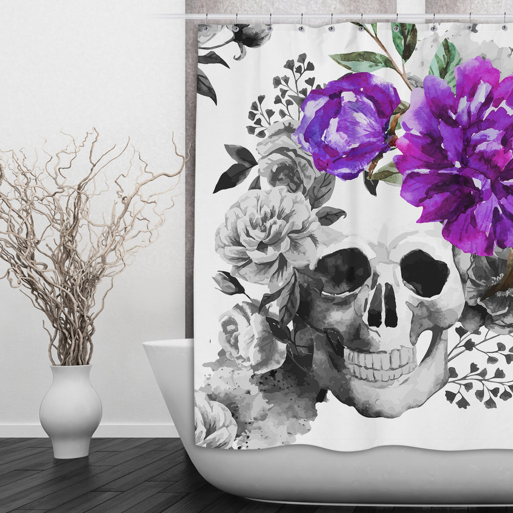 Purple Watercolor Flower and Skull Shower Curtains and Optional Bath Mats