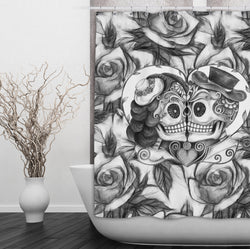 Pencil Sketch Rose Kissing Couple Sugar Skull Shower Curtains And Bath Ink Rags