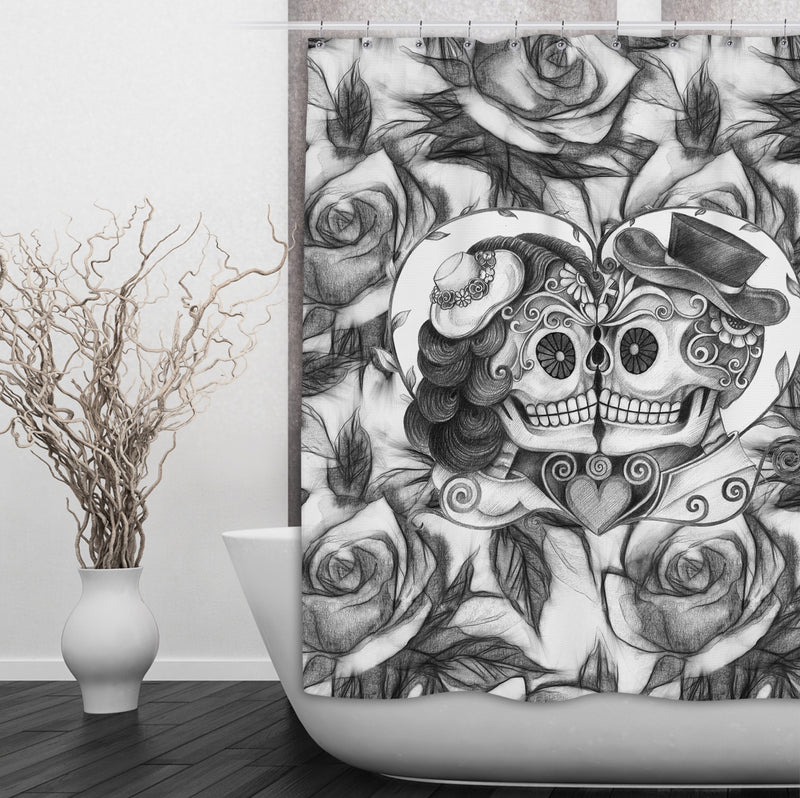 Pencil Sketch Rose Kissing Couple Sugar Skull Shower Curtains and Bath Mats
