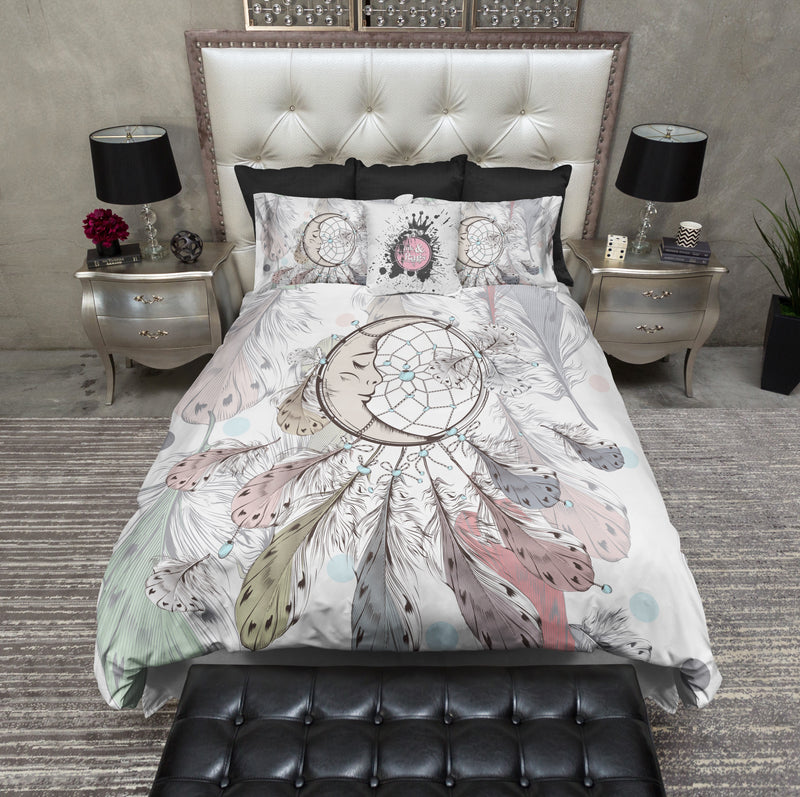 Boho Moon and Feather Dreamcatcher Bedding