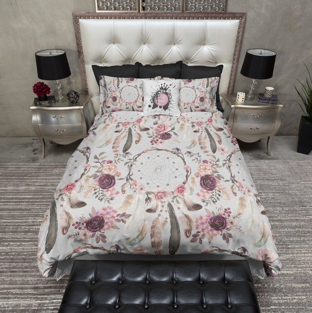 Sweet Boho Burgundy Rose Dreamcatcher Bedding Collection