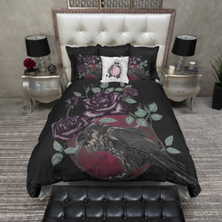 Red Moon Purple Rose Raven Bedding