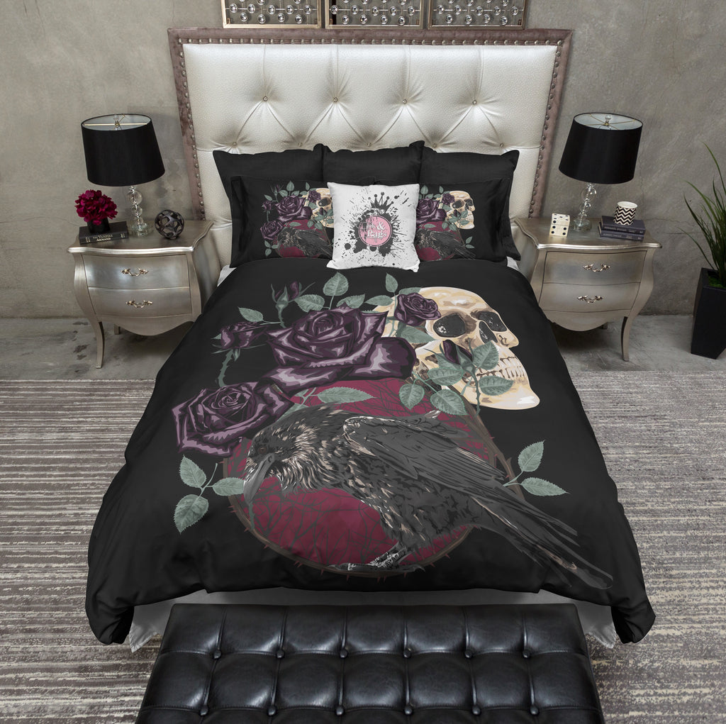 Red Moon Purple Rose Raven Skull Bedding Collection