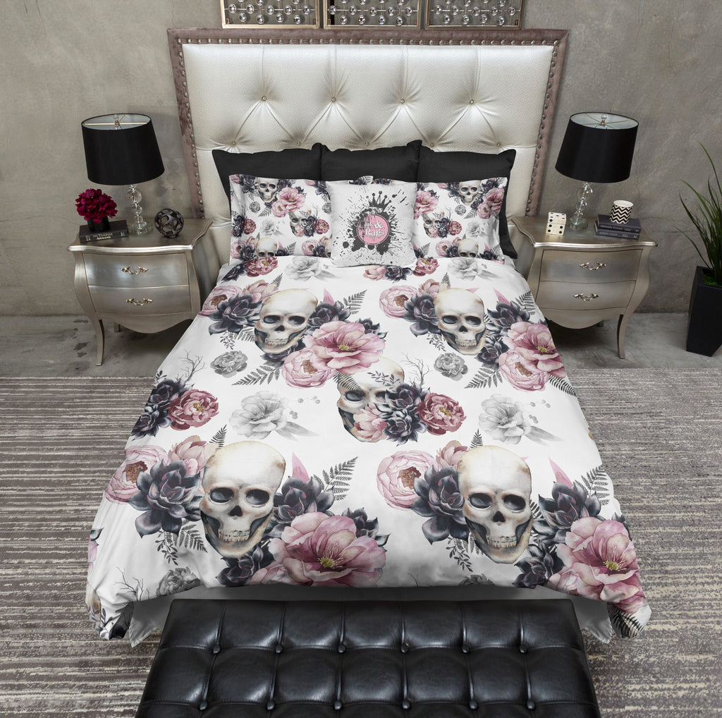 Succulent Rose Skull Bedding Collection