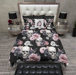 Succulent Rose on Black Skull Bedding