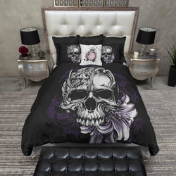Purple Stargazer Lily Skull Bedding