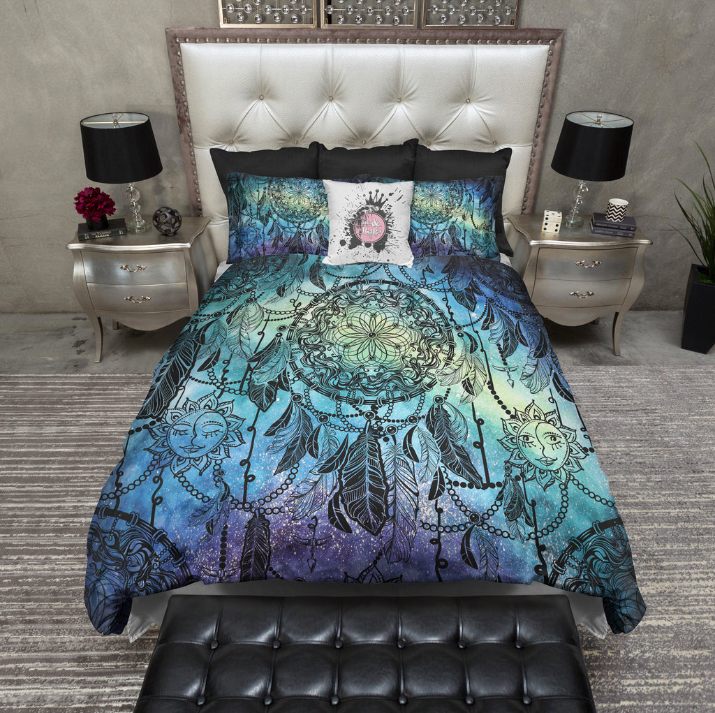 Watercolor Starry Night Dream Catcher Sun Moon Bedding