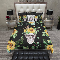 Sunflower and Human Skull on Black Bedding