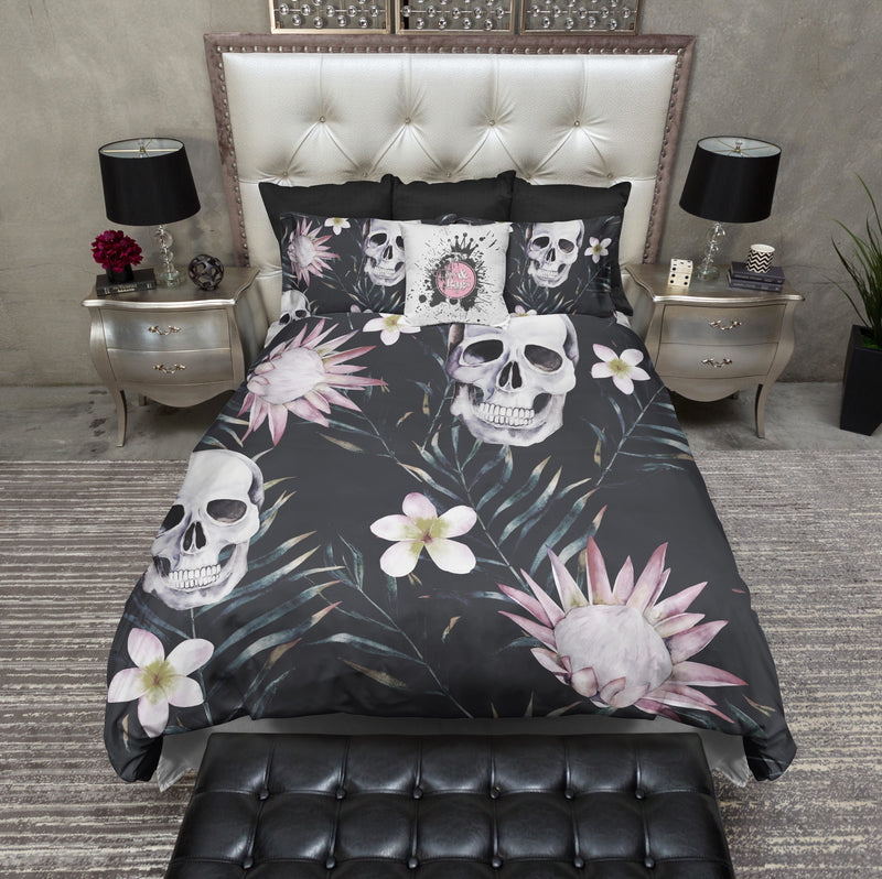 Plumeria Palm Skull Bedding