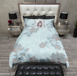 Powder Blue Flower and Skull Bedding