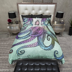 Mint Watercolor Octopus Tentacle Bedding