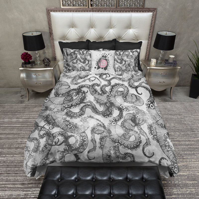 Light Black and White Watercolor Octopus Bedding