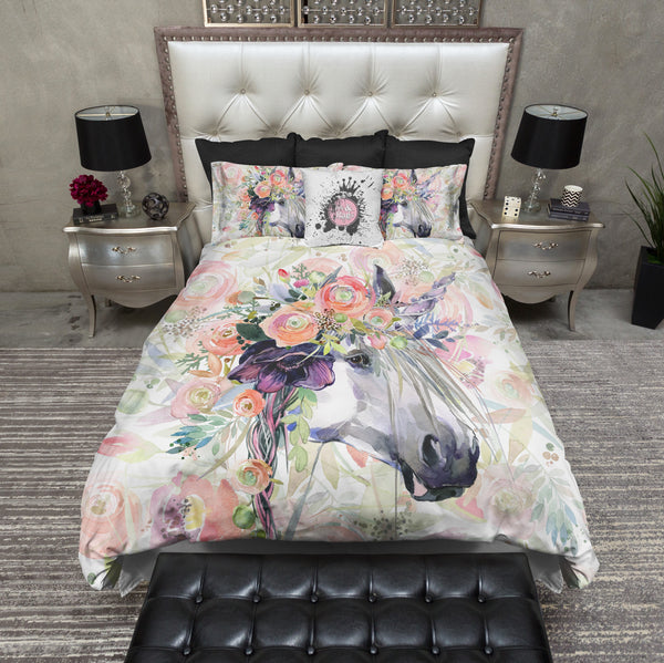 Spring Flower Watercolor Unicorn Bedding