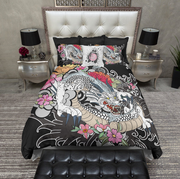 White Dragon Traditional Japanese Tattoo Style Bedding