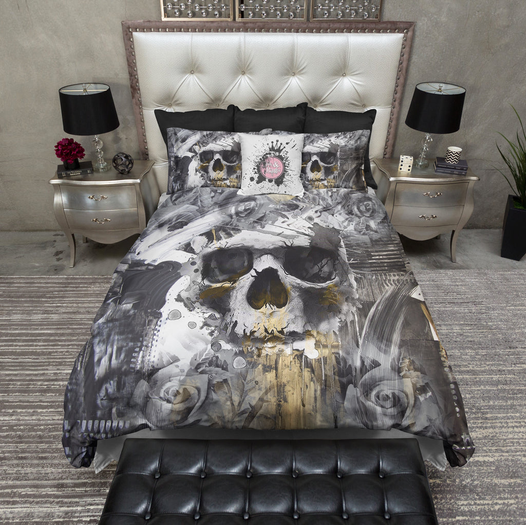 Abstract Rose and Skull Bedding