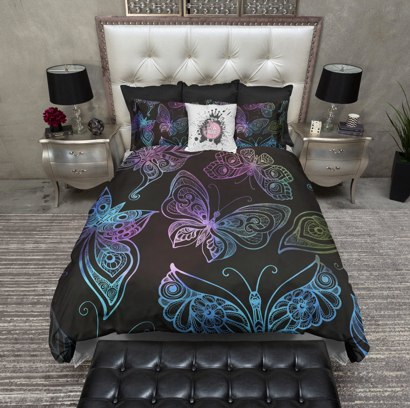 Tribal Rainbow Butterflies on Black Bedding