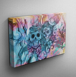 Teal and Purple Pencil Sketch Sugar Skull Couple Gallery Wrapped Canvas
