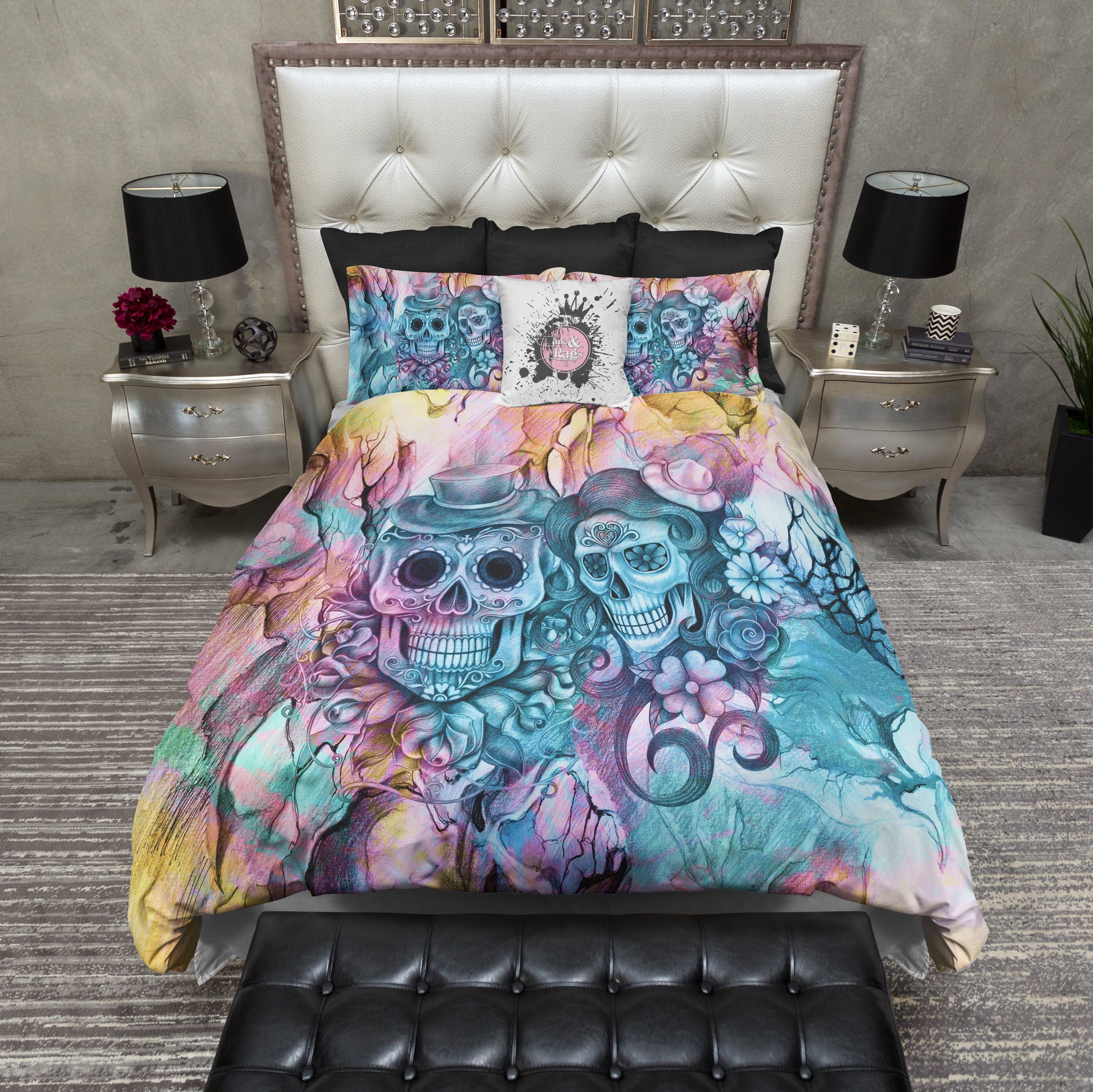 Teal and Purple Pencil Sketch Sugar Skull Couple Bedding Ink and Rags