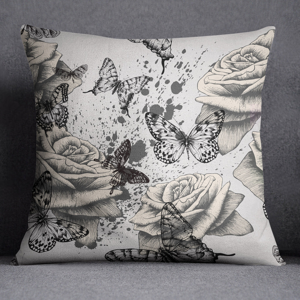 Vintage Rose and Butterfly Decorative Throw and Pillow Cover Set