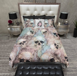 Pink and Blue Tie Dye Skull Duvet Bedding Sets
