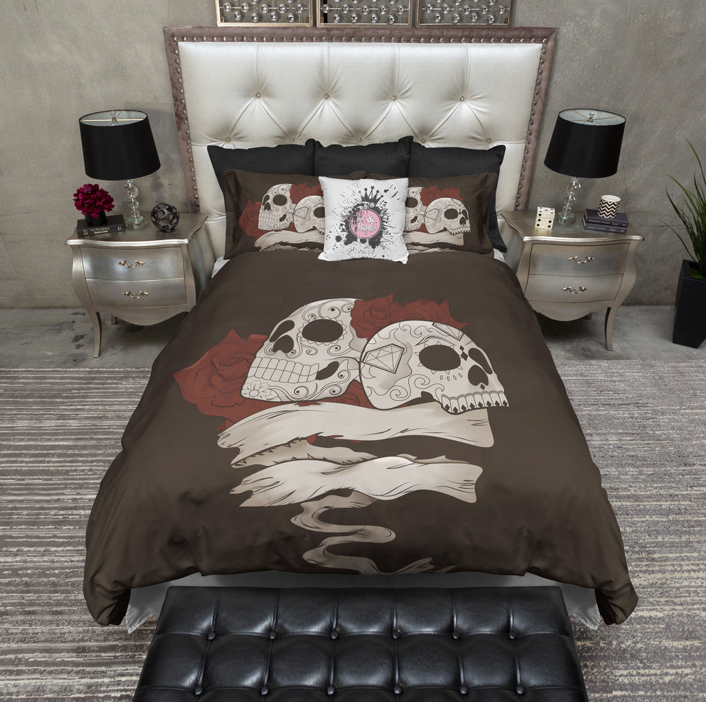 Man and Wife Sugar Skull Bedding Collection