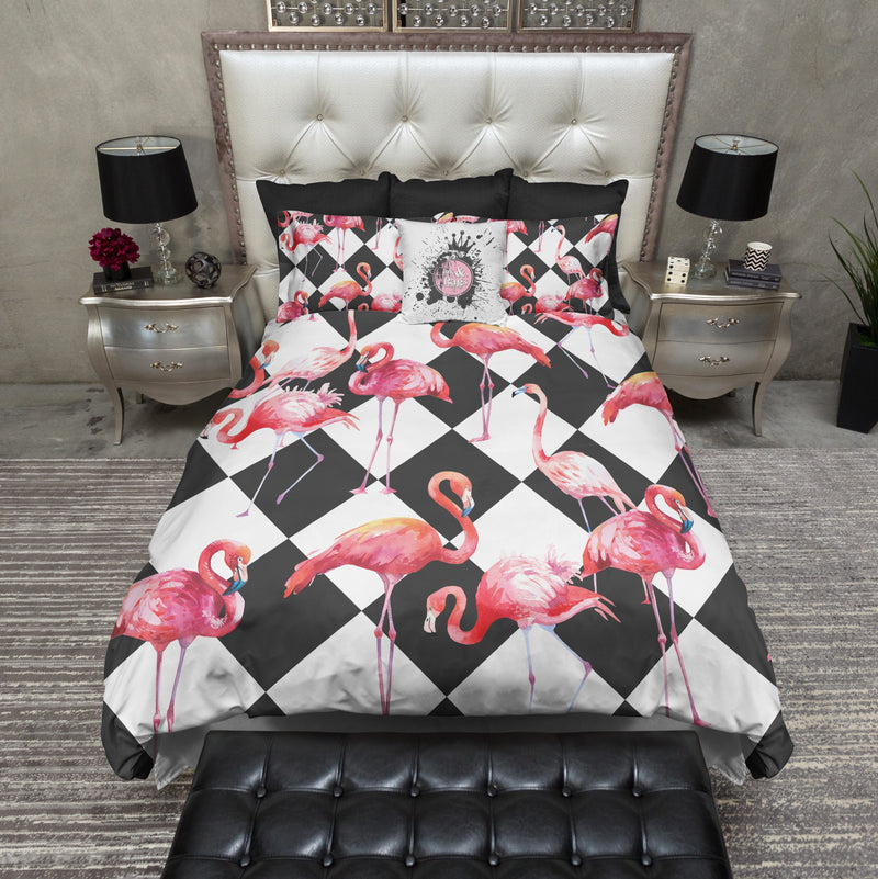 Cheeky Flamingo Check Bedding