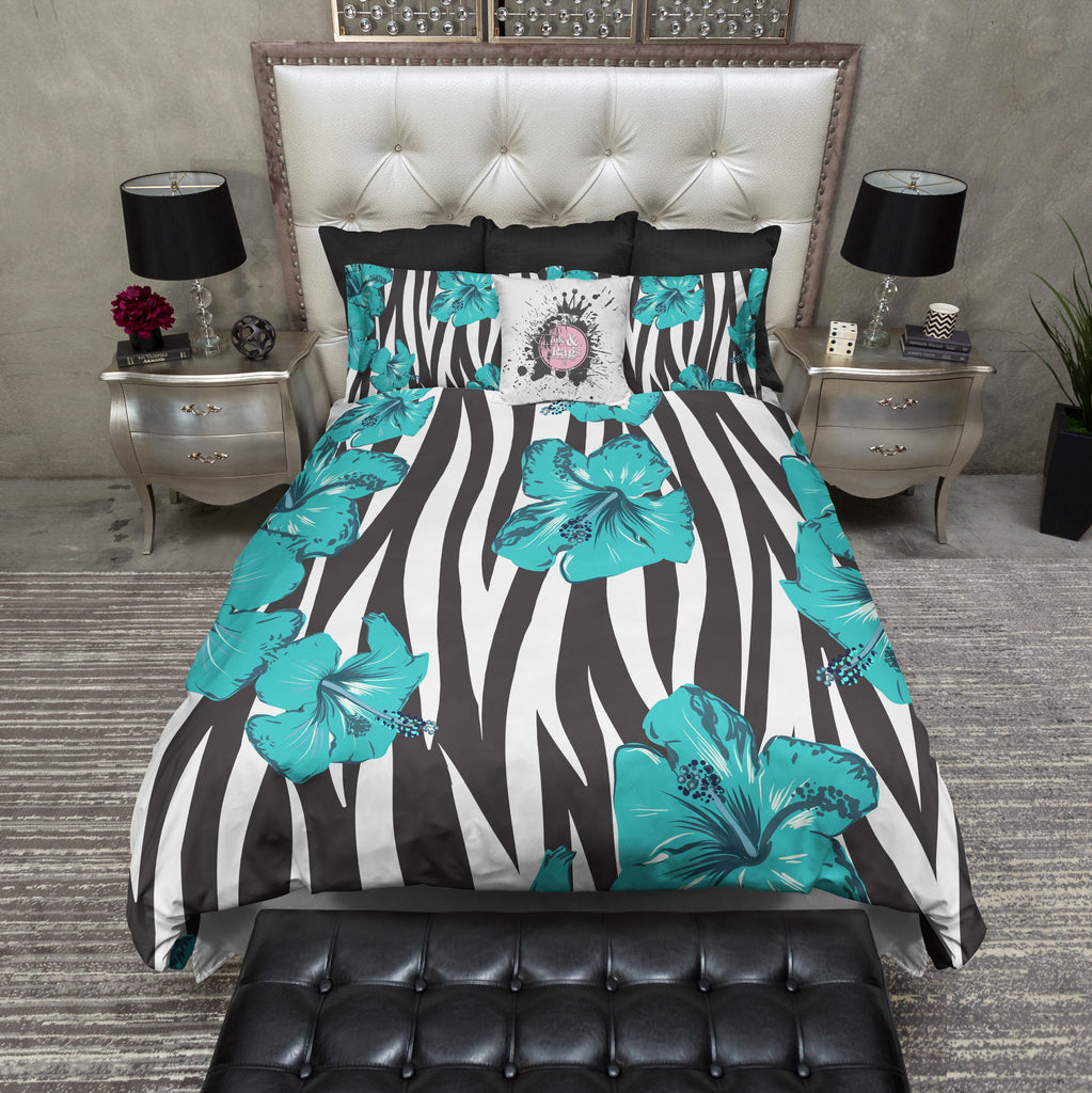 Zebra and Teal Tropical Flower Bedding