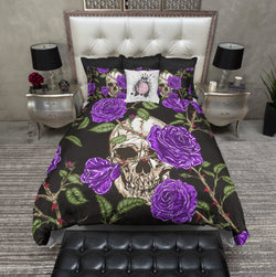 Purple Rose and Blood Thorn Skull Bedding