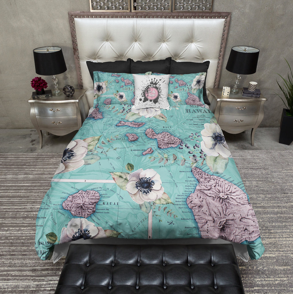 Vintage Hawaiian Islands Map Floral Bedding Collection