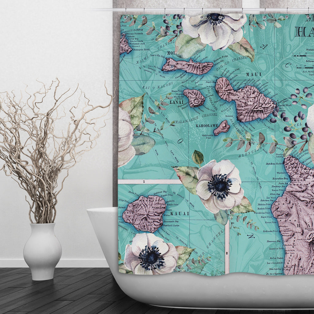 Vintage Hawaiian Islands Map Floral  Shower Curtains and Optional Bath Mats