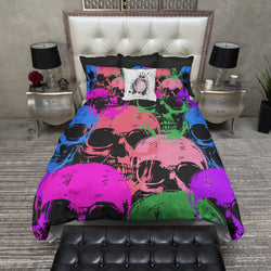 Colorful Skulls on Black Bedding