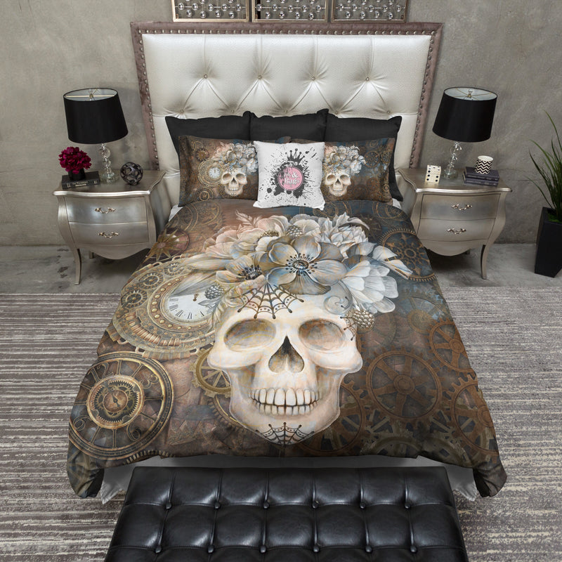 Steampunk Clock and Floral Skull Bedding